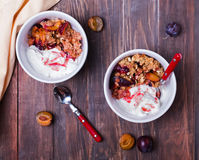 Bowls with healty oatmeal crumble with plums and yogurt, Stock Photos