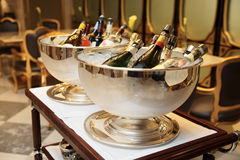 Bowls with iced champagne. In a restaurant Stock Photography