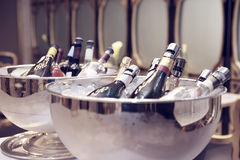 Bowls with iced champagne. Toned Stock Photo