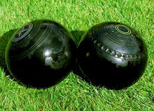 Bowls kiss. In crown green bowling tournament Stock Photo