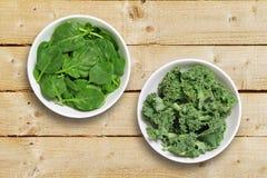 Bowls of leaf vegetables Stock Photography