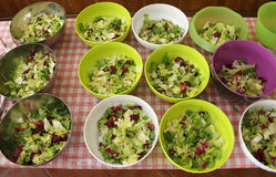 Bowls of lettuce and salad in the canteen Royalty Free Stock Image