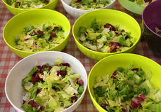 Bowls of lettuce and salad in the canteen Stock Photo