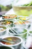 Bowls of mixed fresh organic vegetables in salad bar display. Bowls of mixed fresh organic vegetables in modern salad bar display Royalty Free Stock Photo