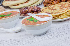 Bowls of Moroccan soup Stock Image
