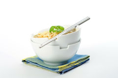Bowls of Noodles and Broth Stock Images