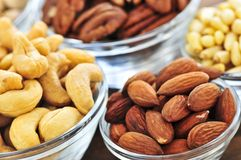 Bowls of nuts stock image