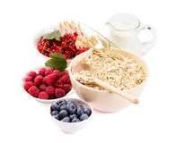 Bowls of oat flakes cereal and various berries Royalty Free Stock Photos