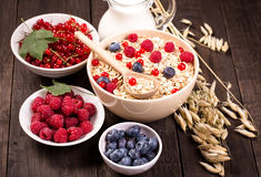 Bowls of oat flakes cereal and various berries Royalty Free Stock Images