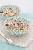 Bowls of oats with nuts and seeds Stock Images