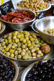 Bowls of olives  at a market Stock Photo