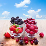 Bowls overflowing with summer berries like Royalty Free Stock Image