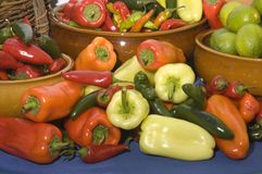Bowls of peppers Stock Photography