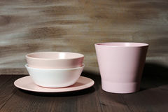Bowls and plate Royalty Free Stock Images