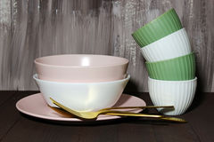 Bowls and plate Stock Image