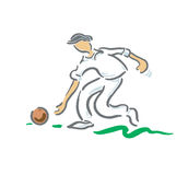 Bowls Player. A Bowls player taking a shot Stock Photography