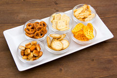 Bowls of pretzels on tray Royalty Free Stock Image
