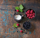 Bowls of raspberries and blueberries Royalty Free Stock Photo