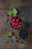 Bowls of raspberries and blueberries Stock Image