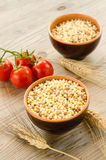 Bowls of raw fregola Royalty Free Stock Image