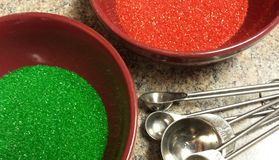 Bowls of red and green sugar Royalty Free Stock Photography