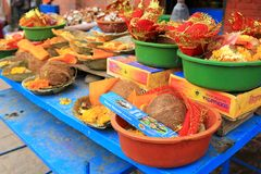 Bowls of religious offerings at Kumbeshwar Temple, Nepal Royalty Free Stock Photos