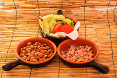 Bowls with salad, beans and tuna Royalty Free Stock Photo