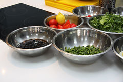Bowls with salad ingredients Royalty Free Stock Photography
