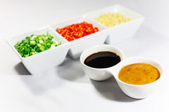Bowls of sauce and Ingredients. Sauce,Scallion,Chili and garlic Royalty Free Stock Image
