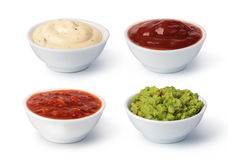 Bowls with sauces royalty free stock image