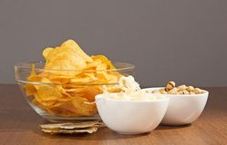 Bowls with snack to beer Royalty Free Stock Images