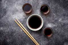 Bowls of soy sauce. Selective focus Royalty Free Stock Photos
