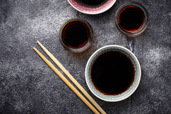 Bowls of soy sauce. Selective focus Stock Photos