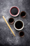 Bowls of soy sauce. Selective focus Royalty Free Stock Images