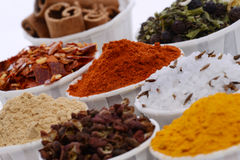 Bowls of spices. Closeup of bowls of different types and colors of spices Stock Photography