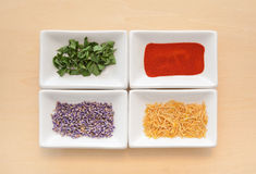 Bowls of Spices, Fresh and Dried Royalty Free Stock Photos