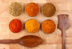 Bowls of spicy ingredients on wooden tray Royalty Free Stock Image