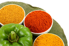 bowls of spicy powders Stock Photos