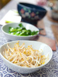 Bowls of steamed oriental vegetables Stock Photos