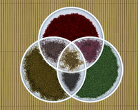 3 bowls. Three intersecting bowls on a bamboo matt containing powdered spices Royalty Free Stock Photo