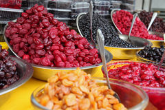 Bowls of Traditionally Dried and Processed Sour Plums Cherries and Forest Fruits Stock Photos