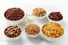 Bowls of various cereals Royalty Free Stock Photo