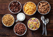 Bowls of various cereals Royalty Free Stock Image