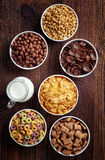 Bowls of various cereals Stock Images