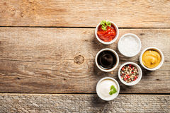 Bowls of various dip sauces Stock Photo