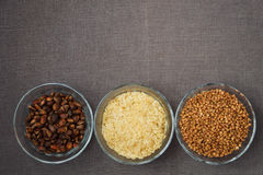 Bowls of various gluten free products Royalty Free Stock Image