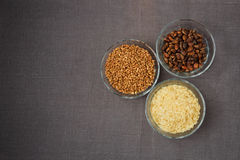 Bowls of various gluten free products Royalty Free Stock Photography