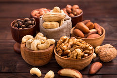 Bowls of various nuts Royalty Free Stock Images