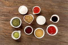 Bowls of various sauces Royalty Free Stock Photography
