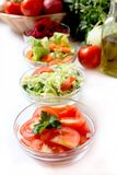 Bowls with vegetables salads Stock Image